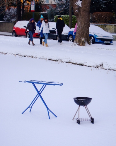 Ironing board & BBQ on the ice